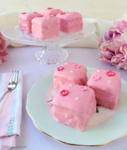 Rose & Lemon Fondant Fancies