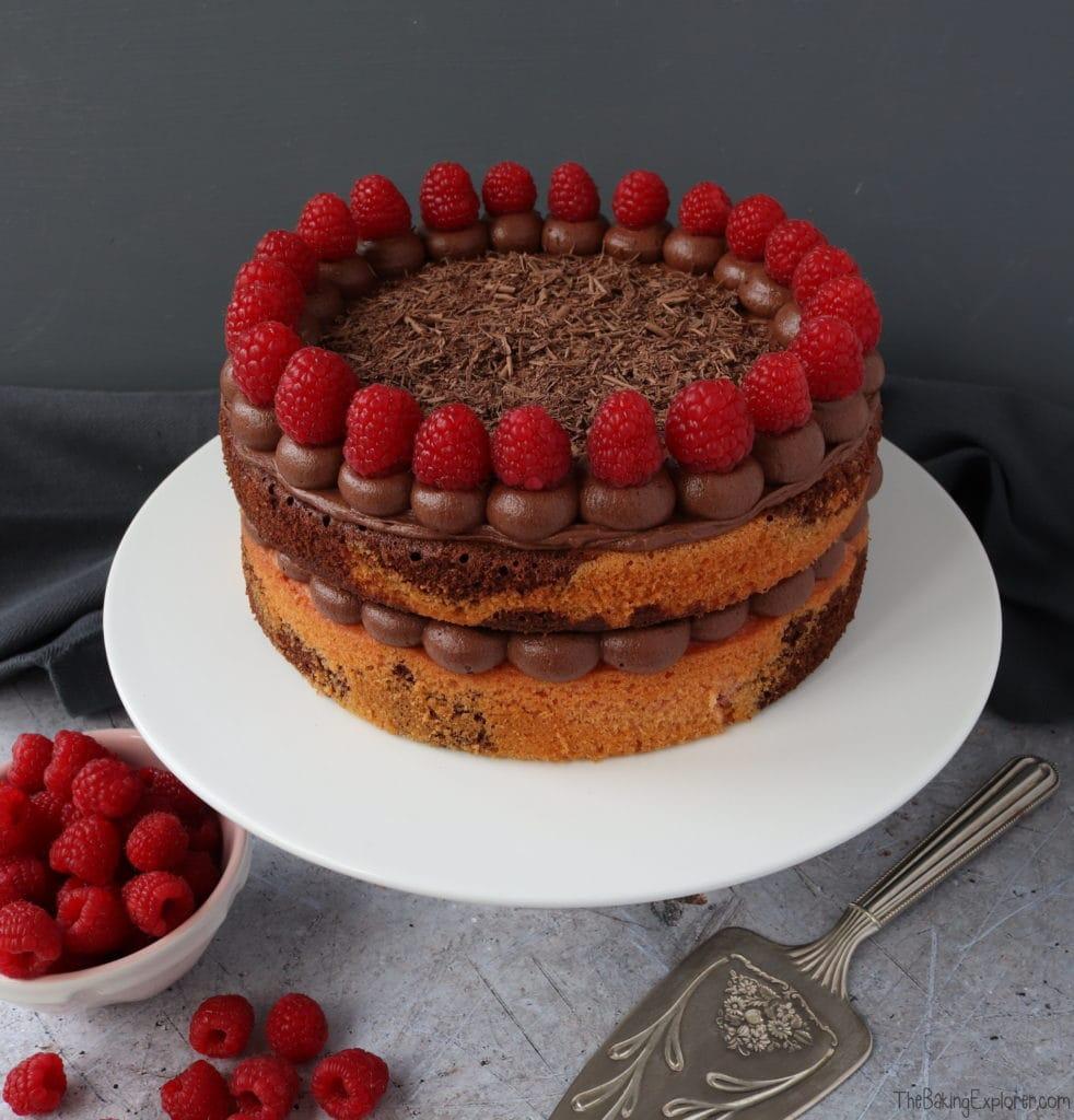 Chocolate & Raspberry Zebra Cake