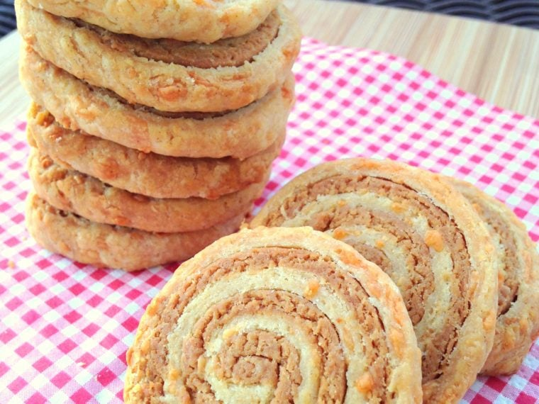Cheese & Marmite Pinwheel Biscuits
