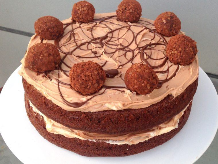 Golden Ale & Dark Chocolate Cake with Exploding Truffles