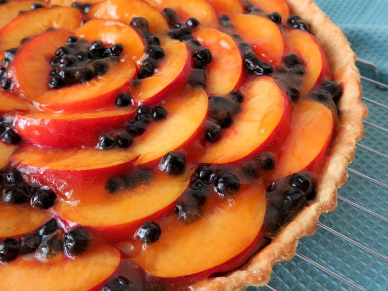 Nectarine & Bilberry Custard Tart