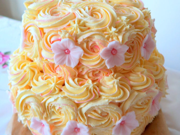 Lemon & Elderflower and Orange & Honey Floral Cake: GBBO Week #6