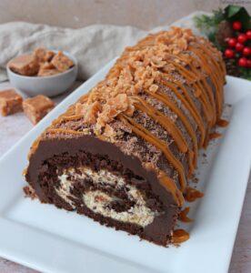 Chocolate, Salted Caramel & Chestnut Yule Log