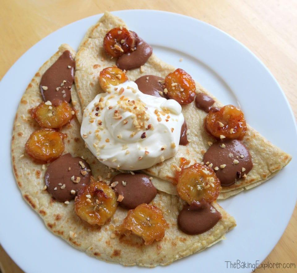 Pancakes with Caramelised Bananas & Homemade Nutella
