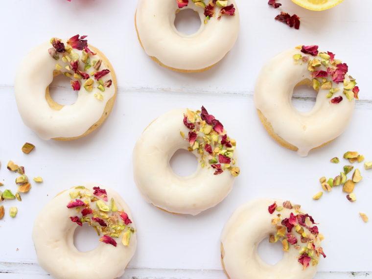 Rose, Lemon & Pistachio Baked Donuts