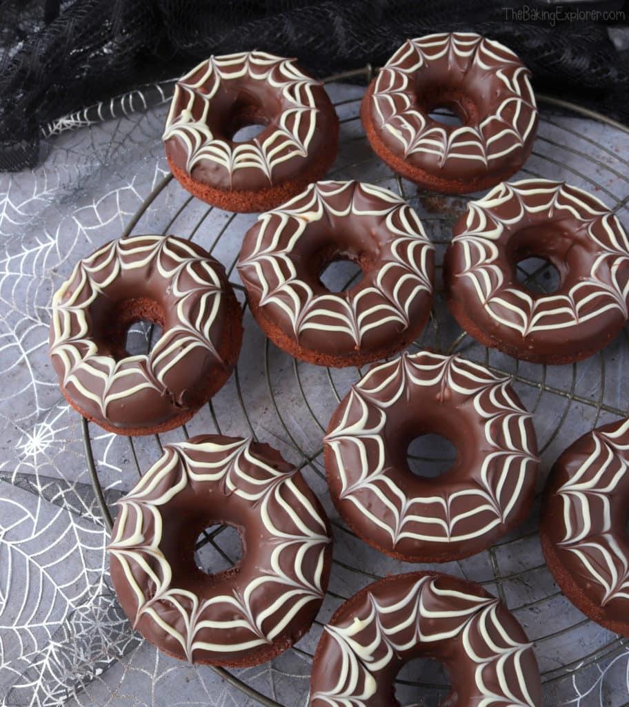 Chocolate Spiderweb Halloween Baked Donuts