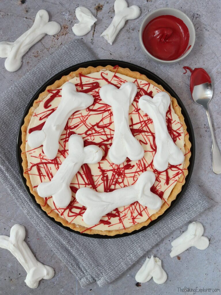 Halloween Meringue Bone Cheesecake Pie
