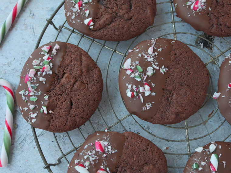 Mint Chocolate Candy Cane Cookies