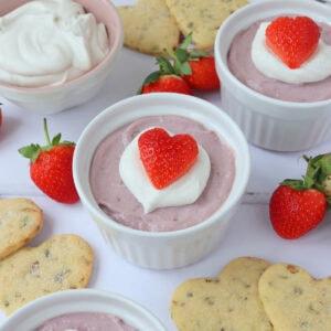 Vegan Strawberry Mousse with Pistachio Shortbread