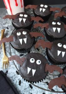 Halloween Vampire Bat Cupcakes