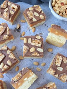flat lay of Snickers Millionaire's Shortbread