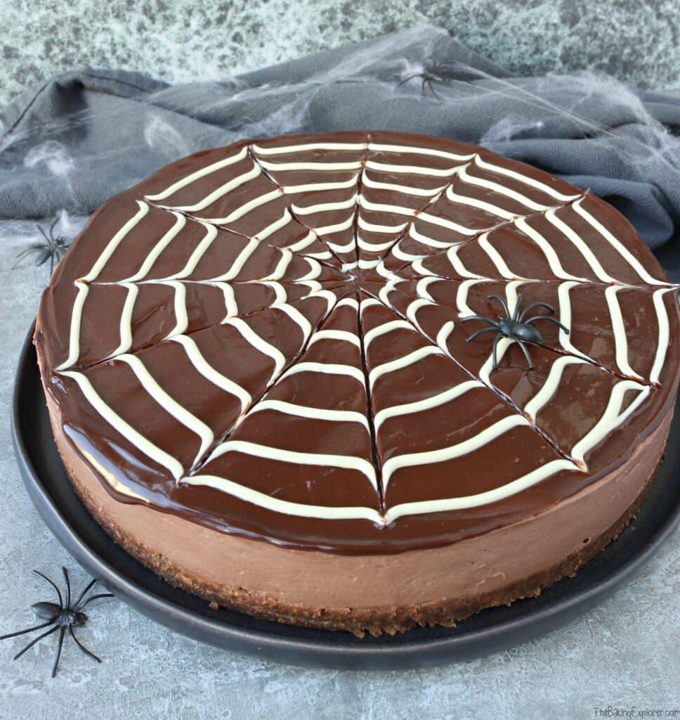 Chocolate Spiderweb Cheesecake