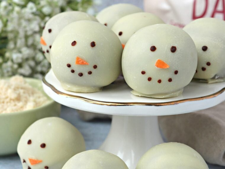 Vegan Chocolate Snowman Truffles
