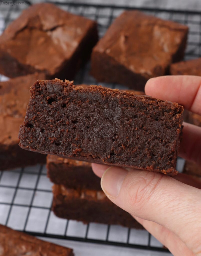 Hand holding a slice of Chocolate Brownies