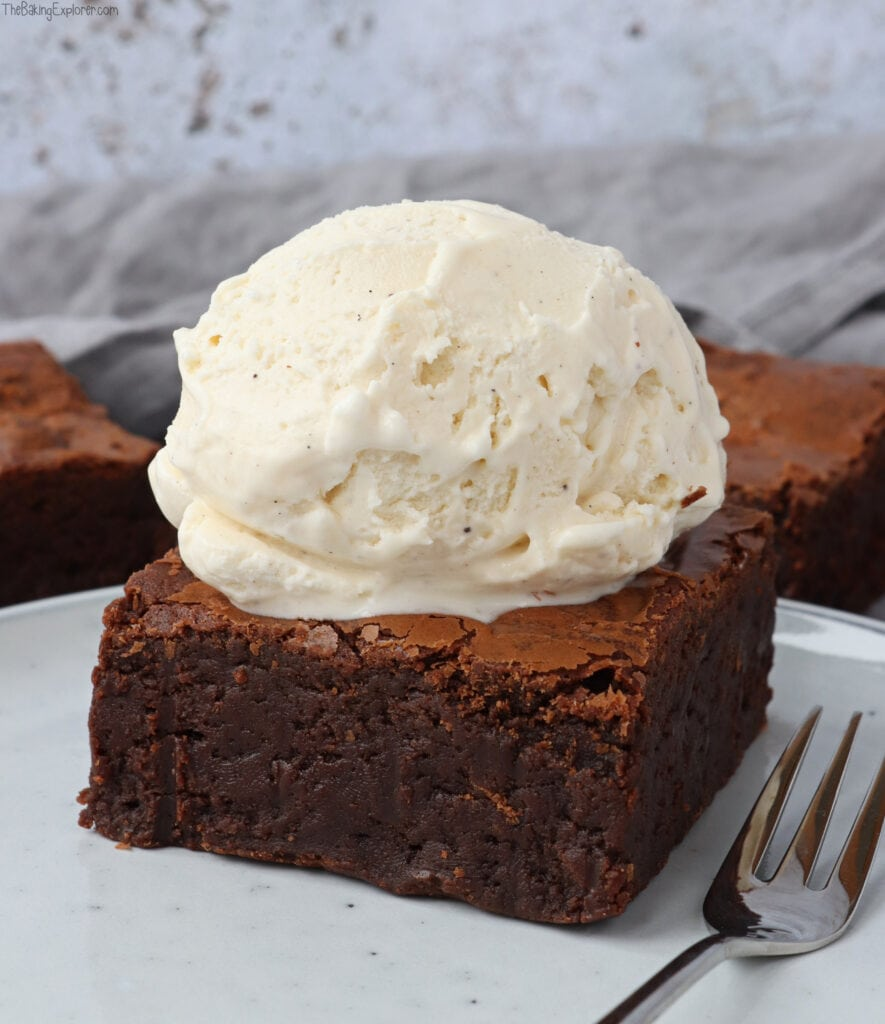 Chocolate Brownies with a scoop of ice cream