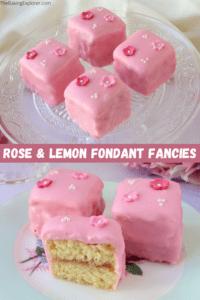 Rose & Lemon Fondant Fancies