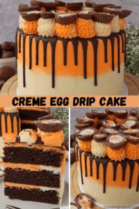 Pinnable image for Creme Egg Drip Cake