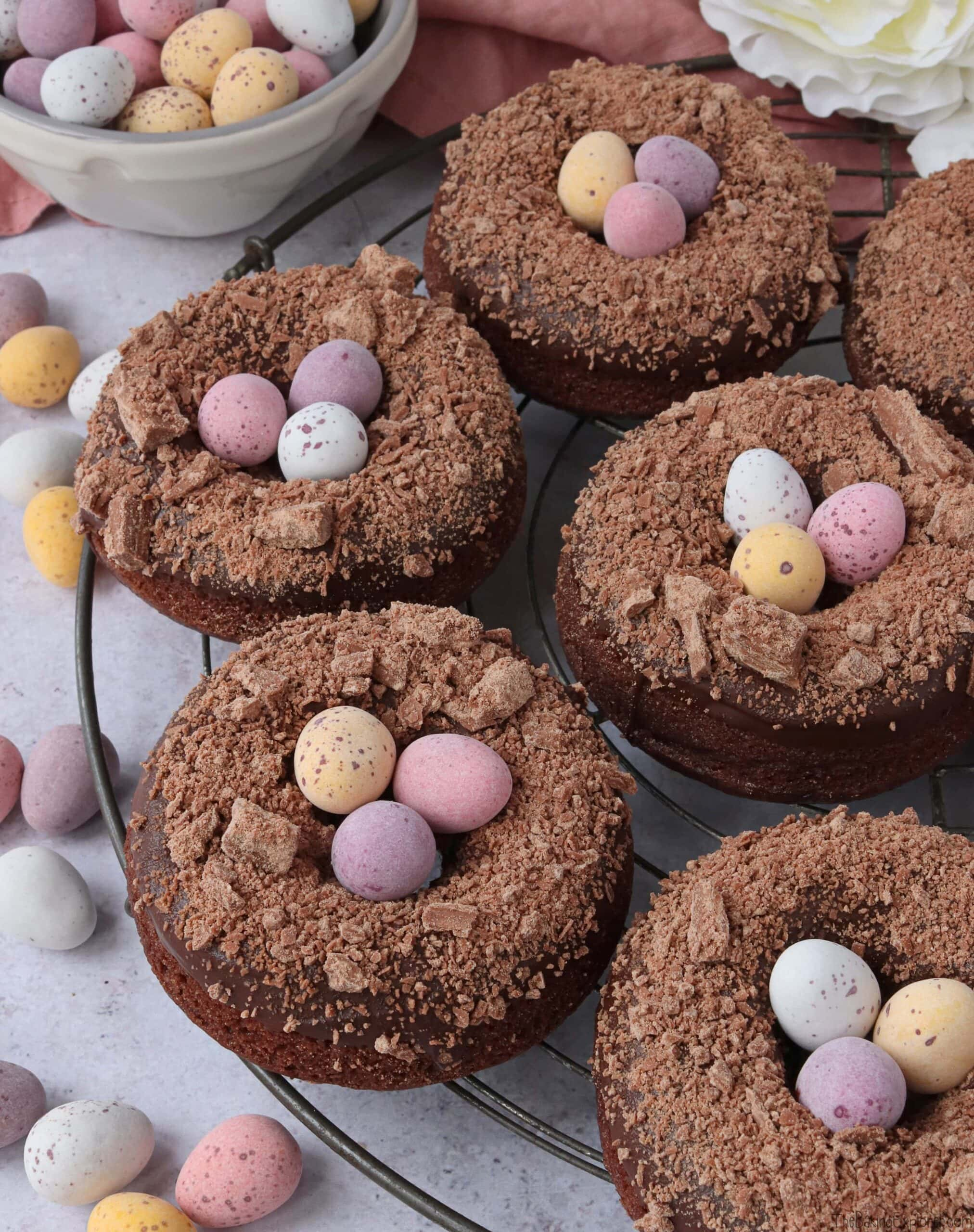 Chocolate Baked Donut Easter Nests