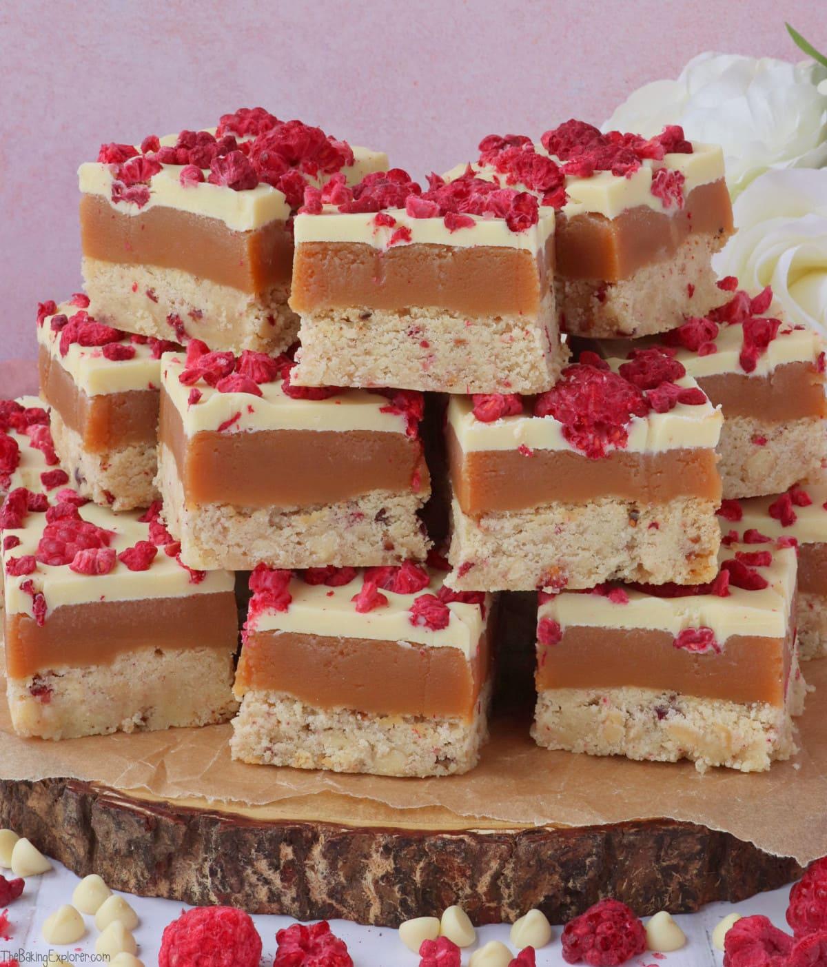 Raspberry & White Chocolate Millionaire's Shortbread